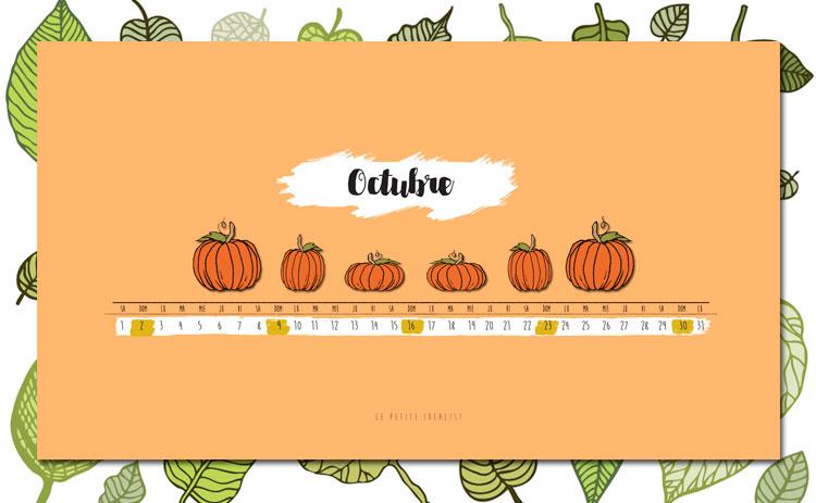 calendario de octubre halloween escritorio
