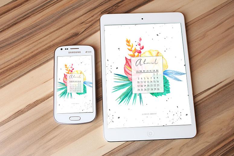 Calendario de abril 2017 movil tablet desktop april download
