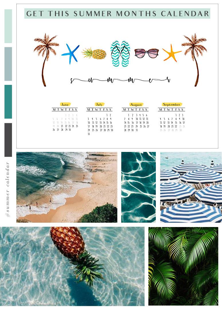 summer calendar Calendario meses de verano summer months calendar desktop download